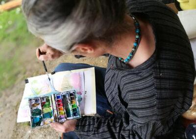 Malování akvarelem v krajině