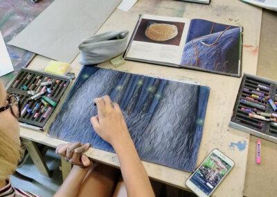 Kreslení pastelem a fantazie