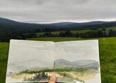 Kreslení akvarelem a sketching, malování akvarelem