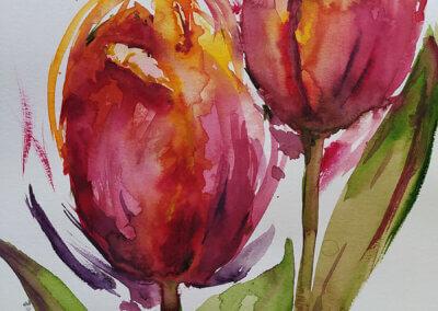 Malování květiny akvarelem