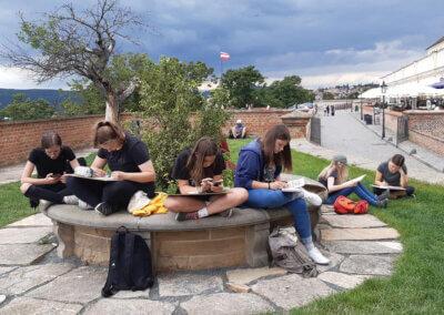 Urban sketching a kreslení ve skupině na talentové zkoušky