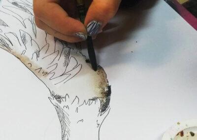 Ilustrace, kreslení zvířete akvarelem