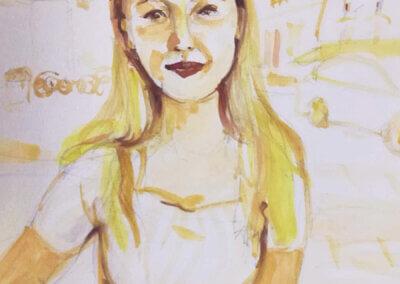Kreslení a skicování podle portrétu akvarelem