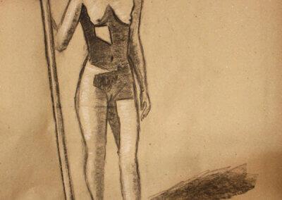 Skicování a kreslení postavy hnědou tužkou