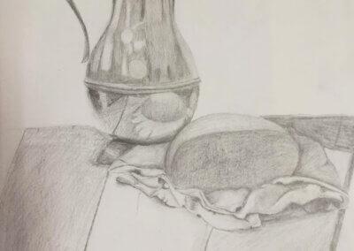 Zátiší, kreslení tužkou